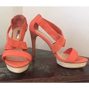 H by Halston Embossed Strappy Heels Coral